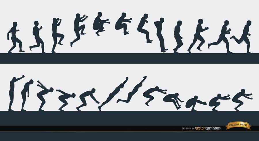 Sequência de esporte de homem pulando