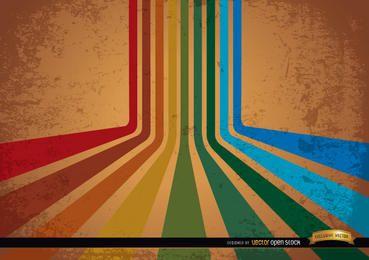 Fundo abstrato retrô listras coloridas