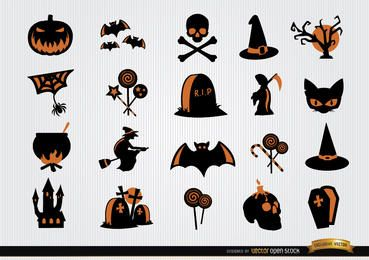 Símbolos de Halloween de miedo icon set