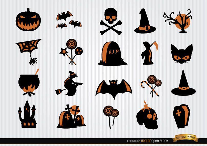 Conjunto de ícones de símbolos assustadores de Halloween