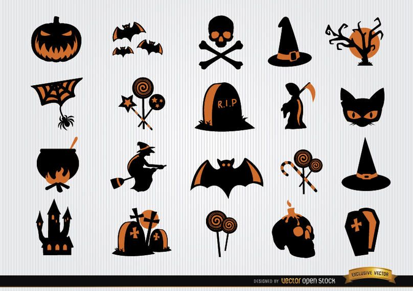 Halloween scary symbols icon set