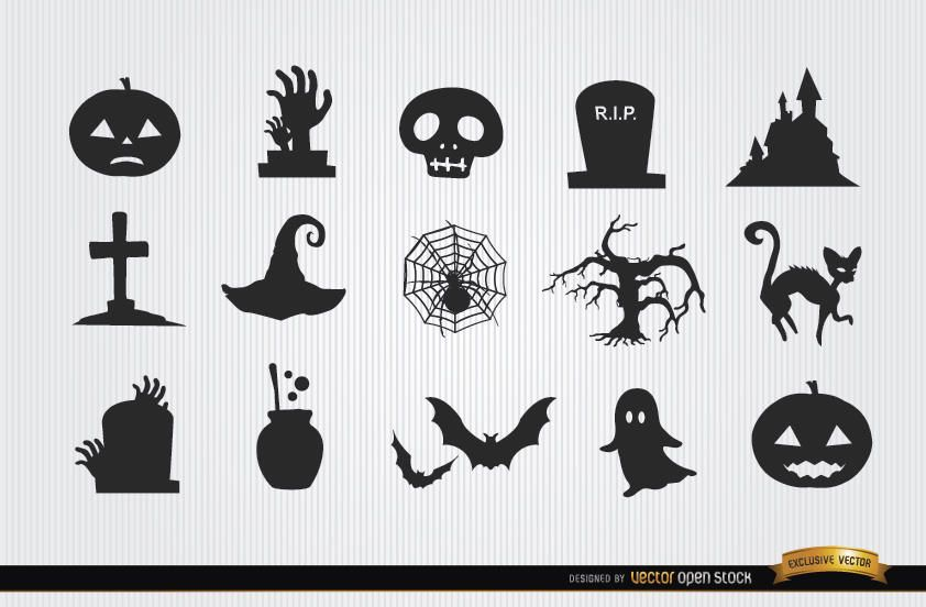 Halloween horror objects icon pack