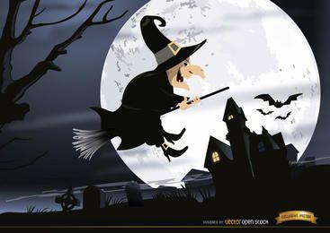 Halloween-Hexe, die Friedhofnachttapete fliegt