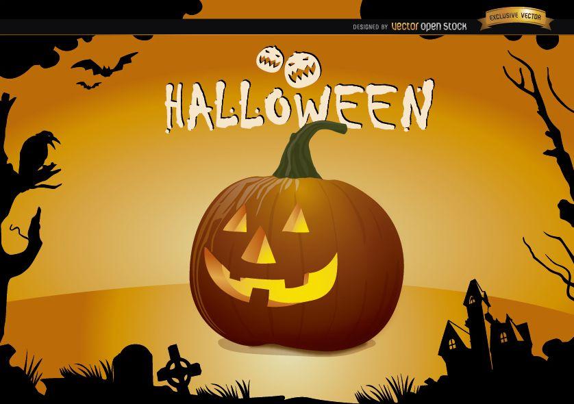 Papel de parede de ab?bora assustador de Halloween