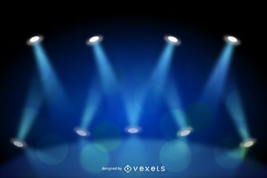 Fundo de luz de palco azul realista