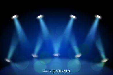 Realistischer blauer Bühnenlicht-Hintergrund