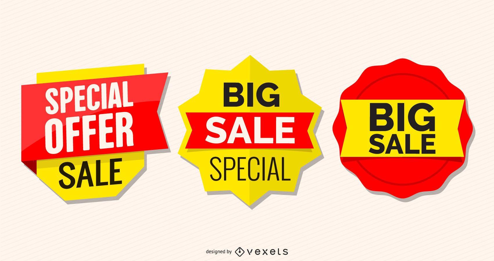 Conjunto de etiquetas de venda promocional brilhante
