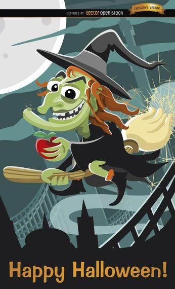 Bruxa malvada voando cartaz de Halloween