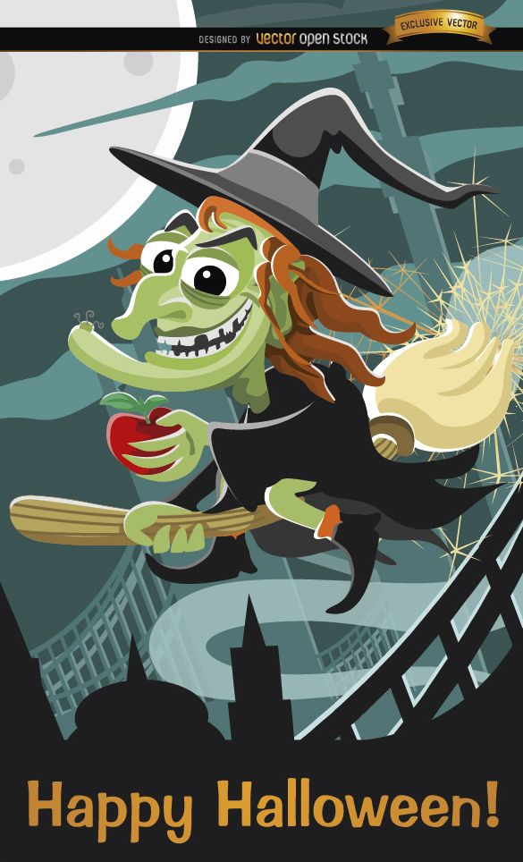Evil witch flying Halloween poster