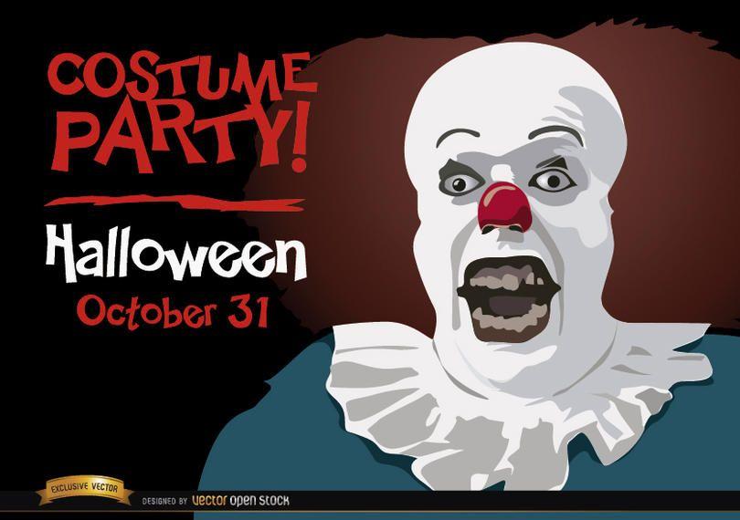 Fiesta de invitaciones de halloween payaso pennywise