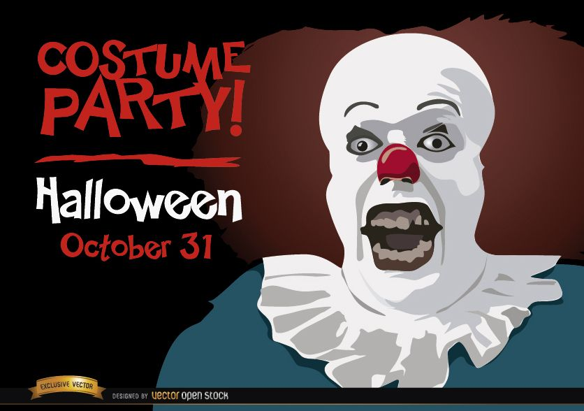 Halloween invitation party Pennywise clown