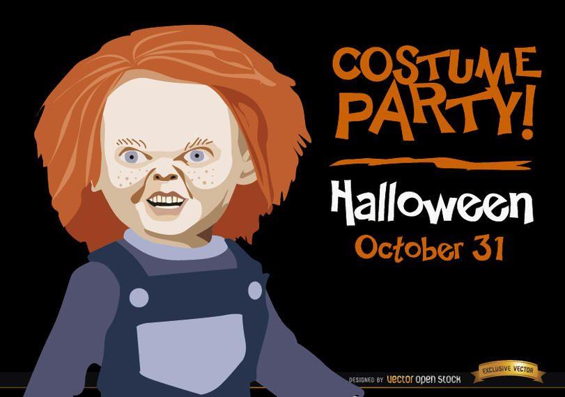 Promo do convite do Dia das Bruxas Chucky