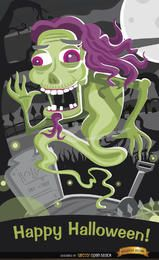 Fantasma de terror no cemitério pôster de Halloween
