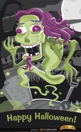 Fantasma del horror en el cartel de Halloween del cementerio