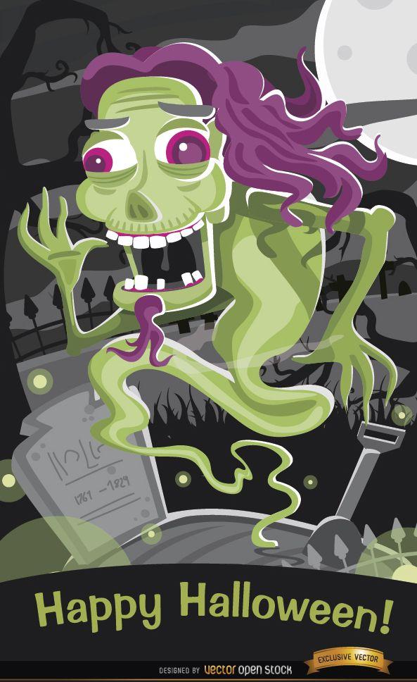 Horror phantom in graveyard Halloween poster