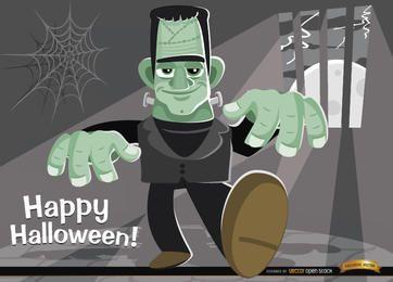 Monstro do Dia das Bruxas fundo de Frankenstein