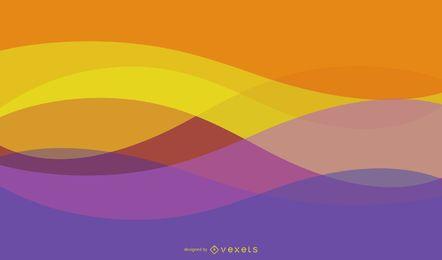 Fondo de ondas y curvas abstractas coloridas brillantes