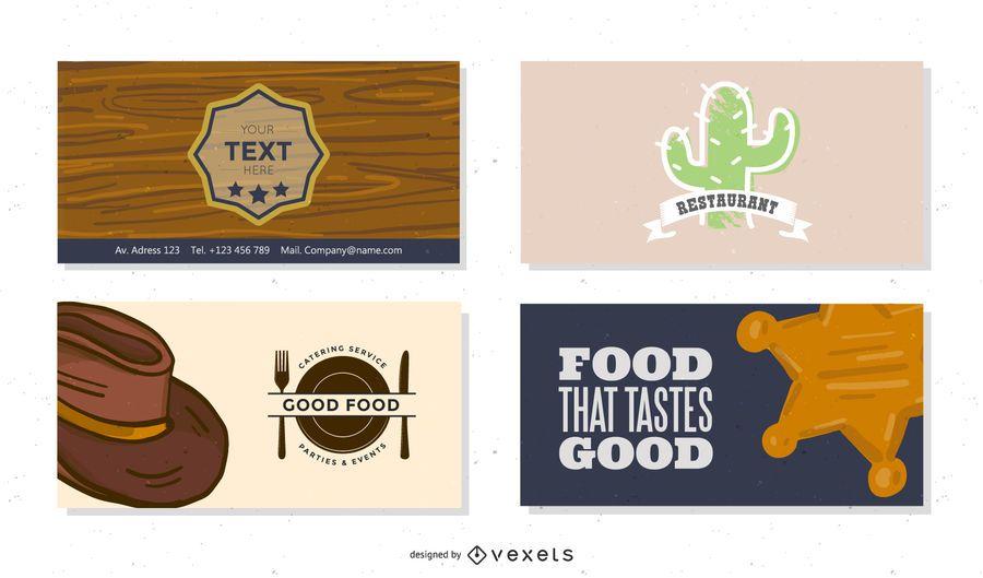 Conjunto de cartões de visita para restaurantes e cafés de estilo ocidental