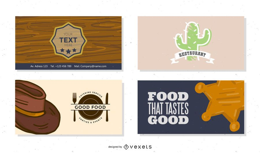 Western Style Restaurant & Cafe Business Card Set