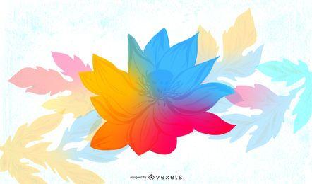Floral colorido fluorescente con mancha grungy