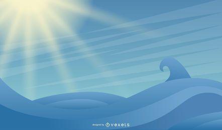 Größere Seewelle und glänzender Himmel
