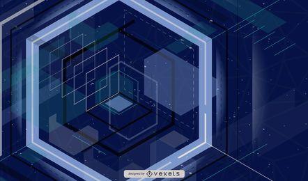 Fondo azul de cuadrados de tecnología 3D