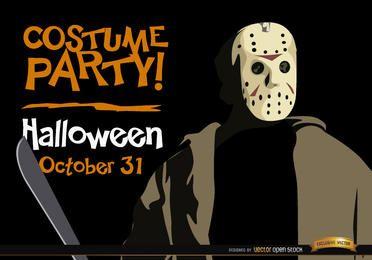Invitación de la fiesta de Halloween Jason Voorhees