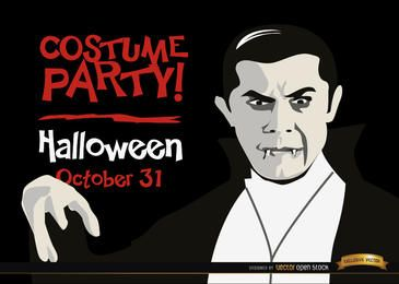 Promo de invitacion de halloween dracula vampiro