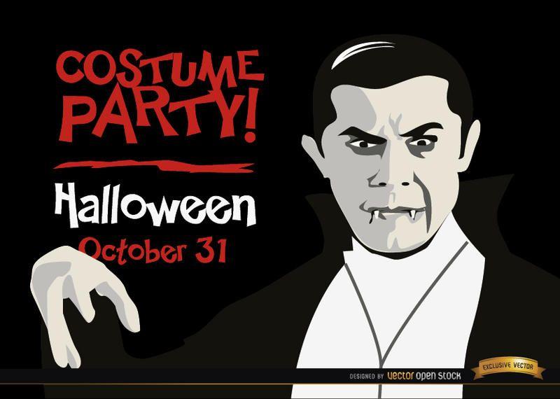 Invitación de Halloween promo Drácula vampiro