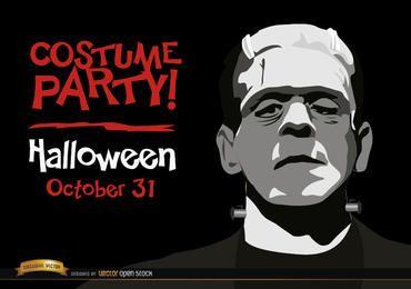 Invitación de Halloween fiesta del monstruo de Frankenstein