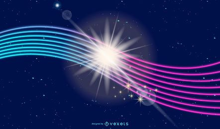 Fondo de líneas de energía brillante resplandor de neón