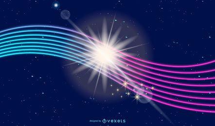 Fundo de linhas de energia brilhante neon