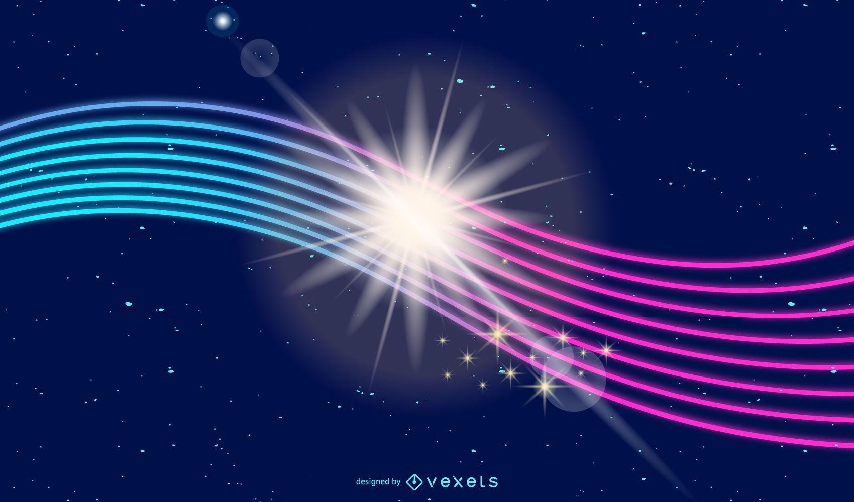 Fondo de líneas de energía de resplandor de neón brillante