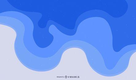 Fondo de ondas azules de borde de corte con curvas