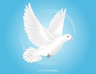 Flying Dove Bosquejo blanco y negro