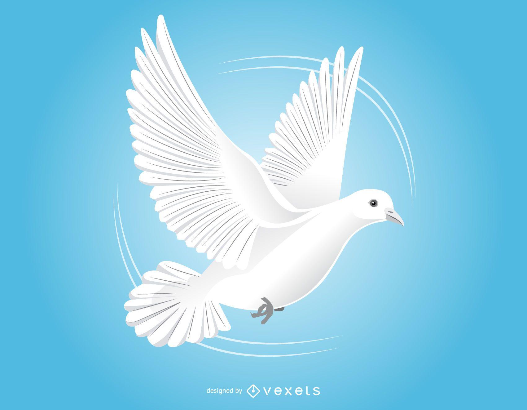 Dibujo de paloma voladora en blanco y negro