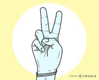 O sinal de paz V com gesto manual