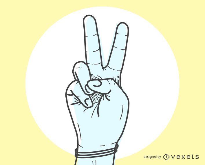 O sinal de paz V pelo gesto de mão
