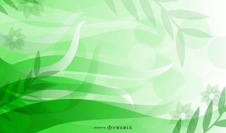 Diseño floral abstracto verde fluorescente
