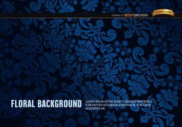 Blauer und schwarzer Blumenverzierungshintergrund