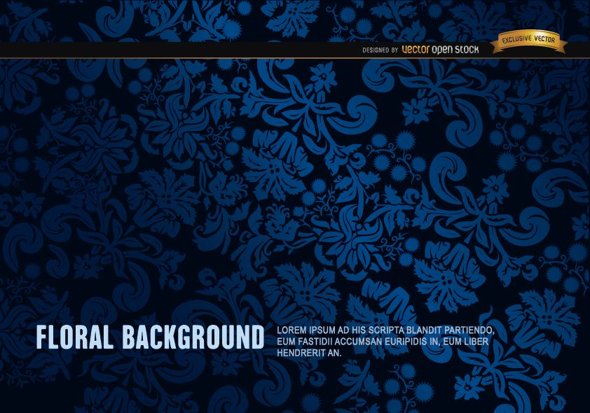 Blue and Black floral ornament background