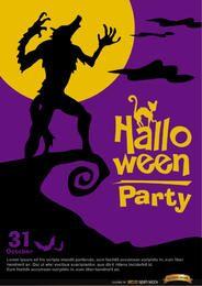 Promo de halloween del cartel del hombre lobo aullando