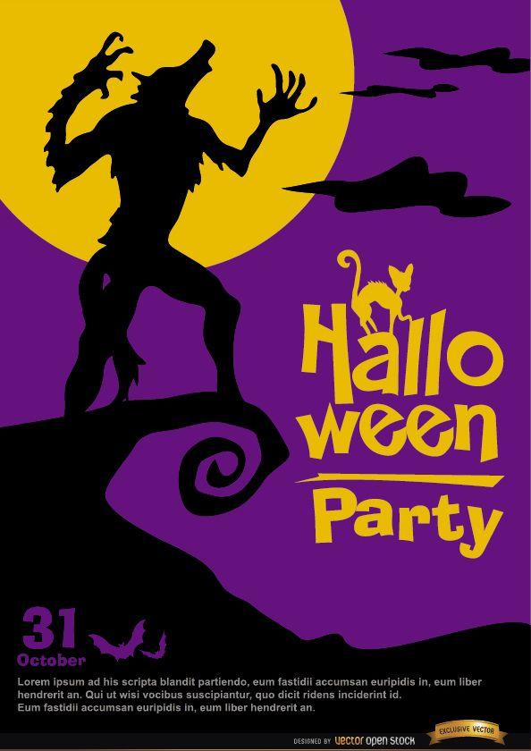 Cartel de hombre lobo aullando promo de halloween