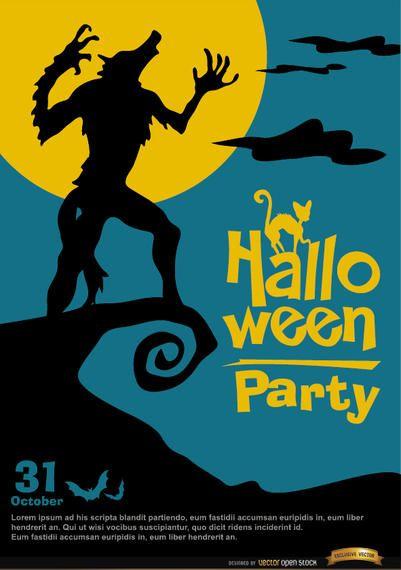 Spooky Howling Werewolf poster halloween promo