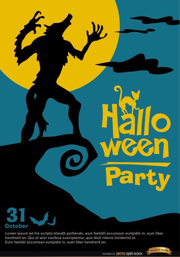Cartel de hombre lobo aullador espeluznante promoción de halloween