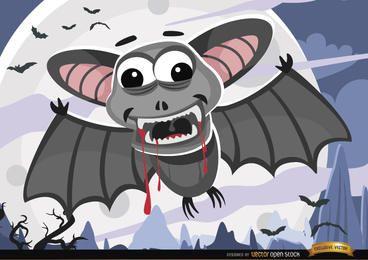 Dia das bruxas sangrenta morcegos noite papel de parede