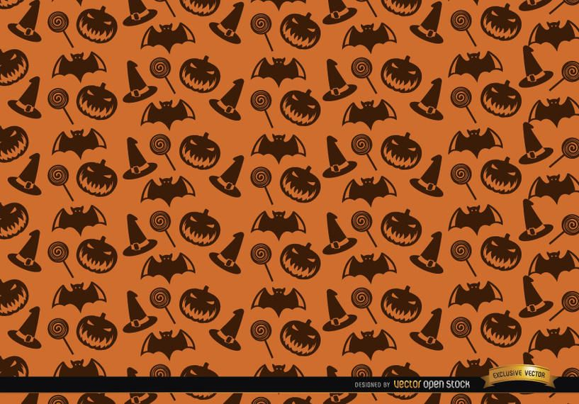 Halloween texture hat candy bats and creepy pumpkin background
