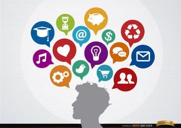 Ideas de hombre de concepto de nubes sociales de infografía