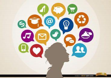Mujer ideas infografía concepto de nubes sociales