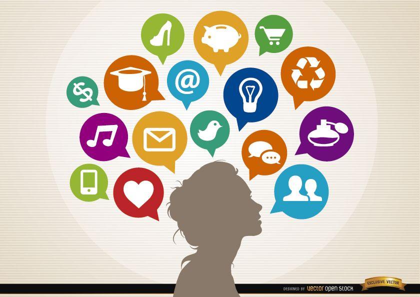 Concepto de nubes sociales de infografía de ideas de mujer